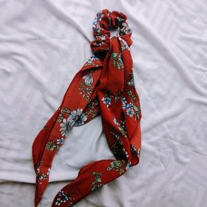 Red Floral Scrunchie with Scarf